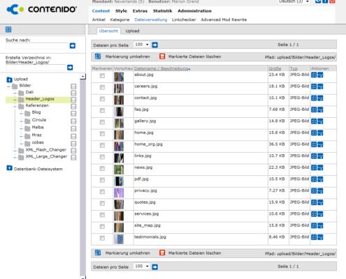 CMS Contenido - Dateiverwaltung