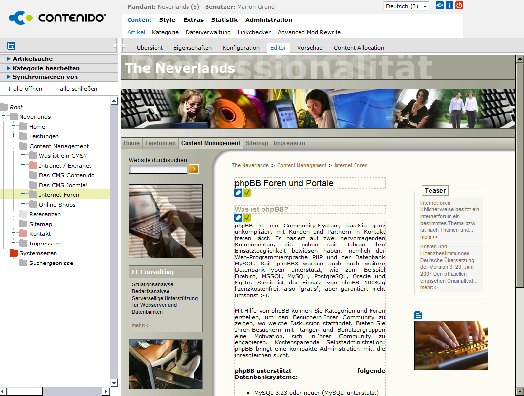 CMS Contenido - das praktische Insite-Editing